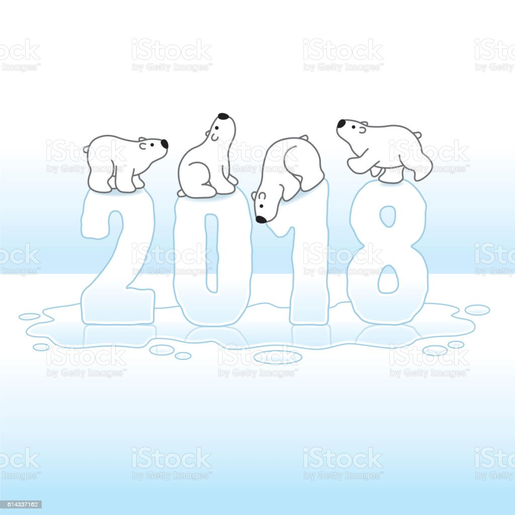 Four Polar Bears Balancing on Melting Year 2018 in Ice vector art illustration