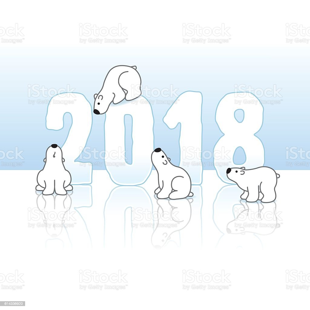 Four Polar Bears with Year 2018 in Ice vector art illustration