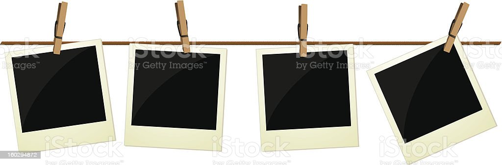Four polaroid pictures hanging on rope vector art illustration