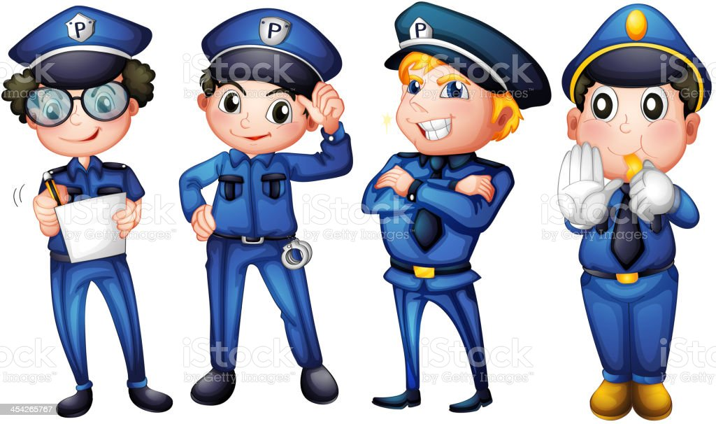 Four policemen royalty-free stock vector art