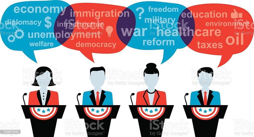 Four Politicians Debating vector art illustration
