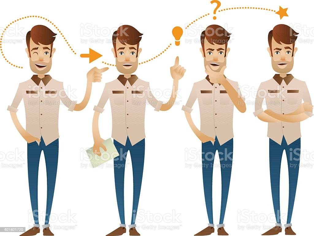 Four poses of the character vector art illustration