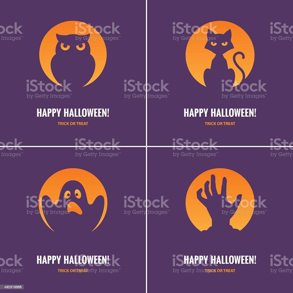 Four purple Halloween cards vector art illustration