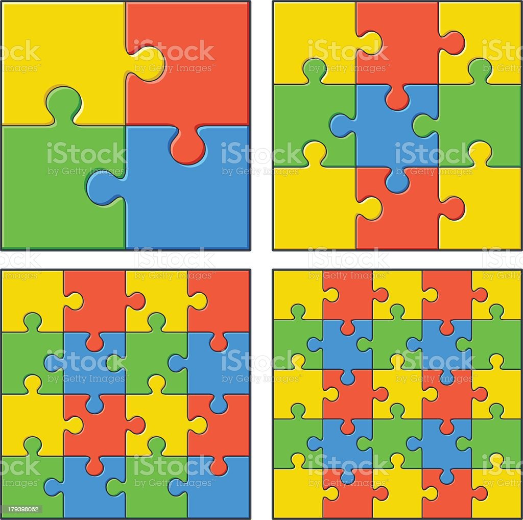 Four puzzles in primary colors, increasing in difficulty royalty-free stock vector art