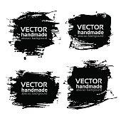 Four rectangular abstract textured black strokes vector