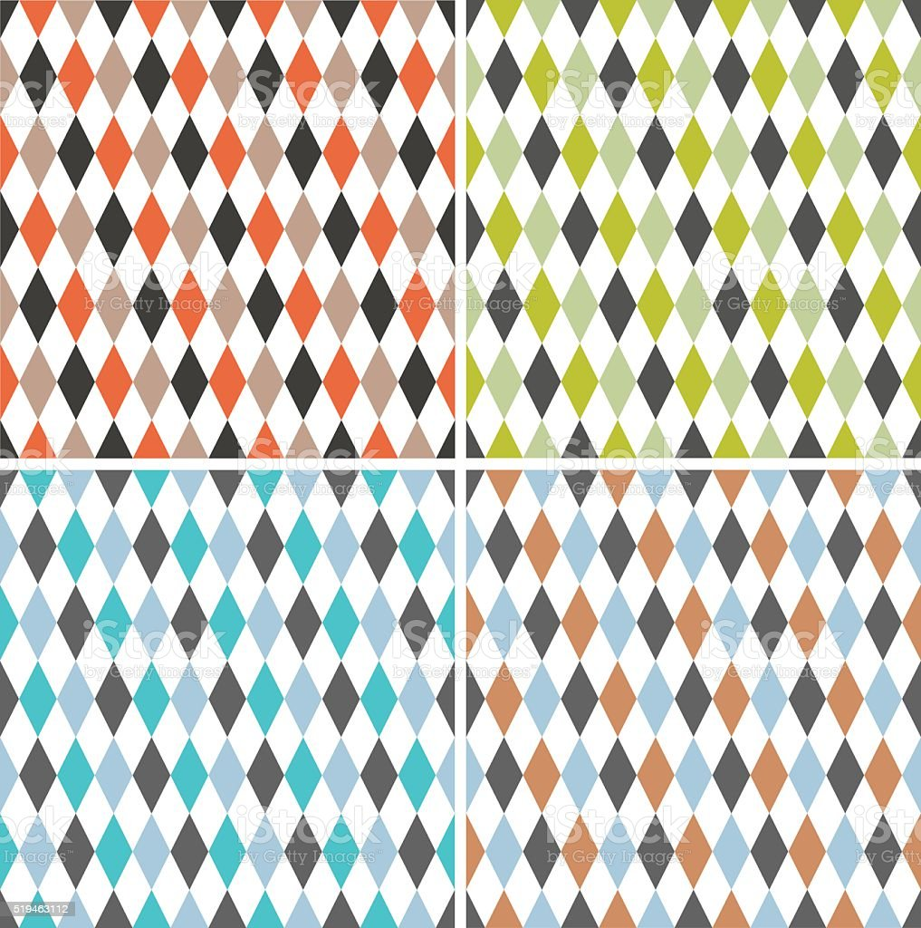 Four retro circus seamless pattern. Vector. Isolated. vector art illustration