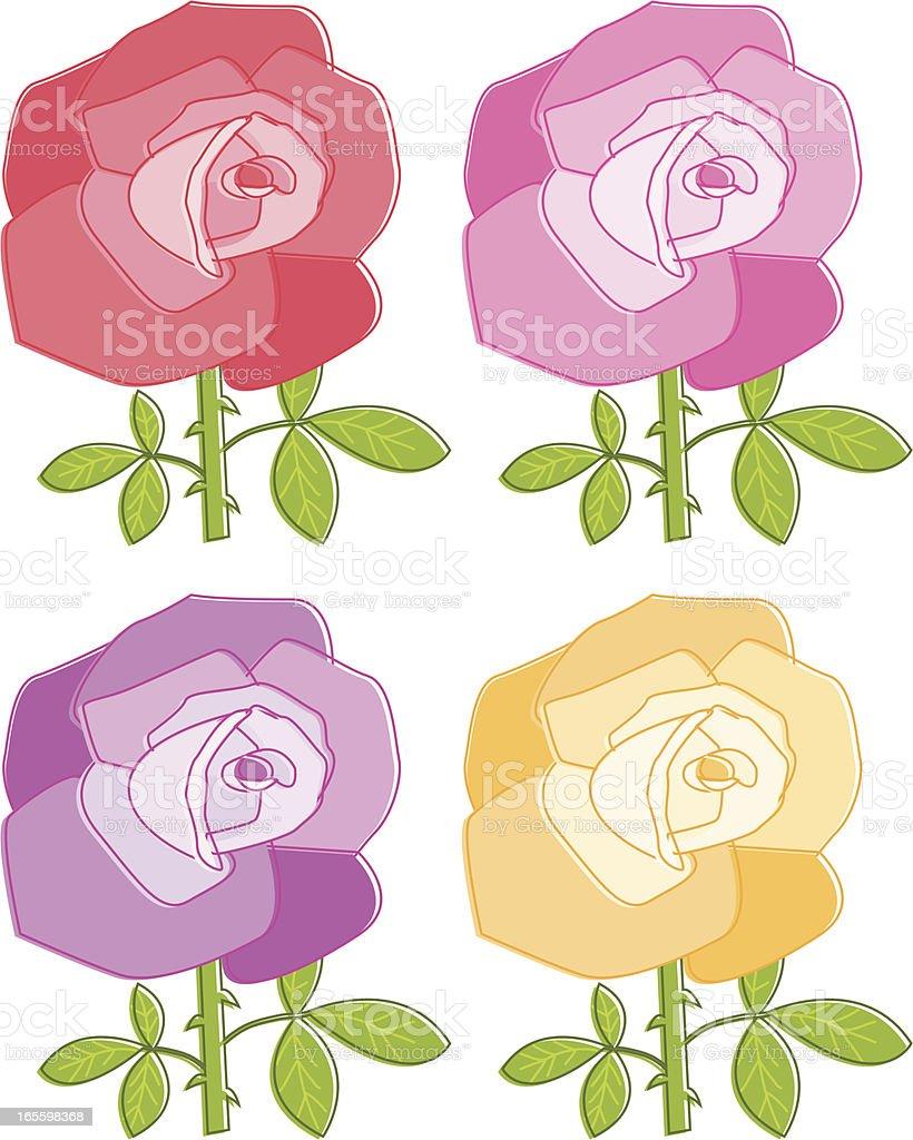 Four Roses vector art illustration