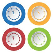 four round color icons, last minute clock