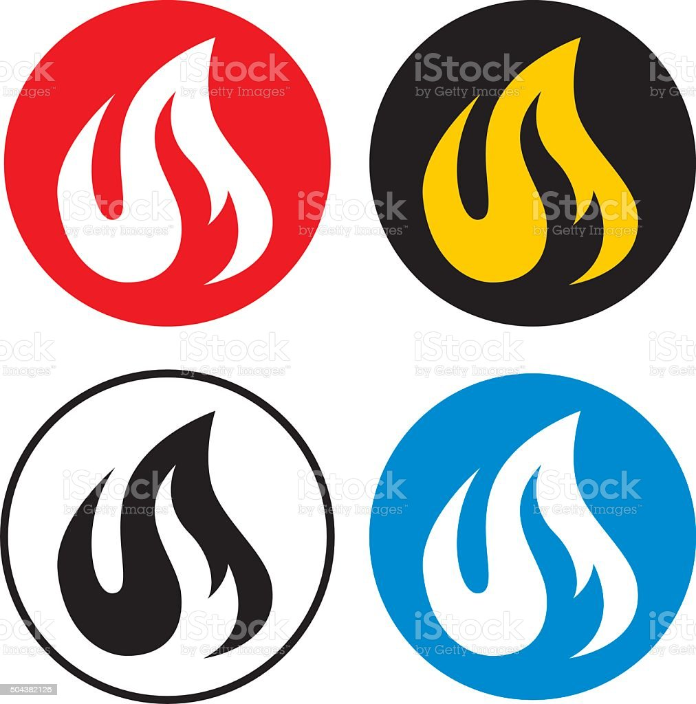 Four Round Flame Icons vector art illustration