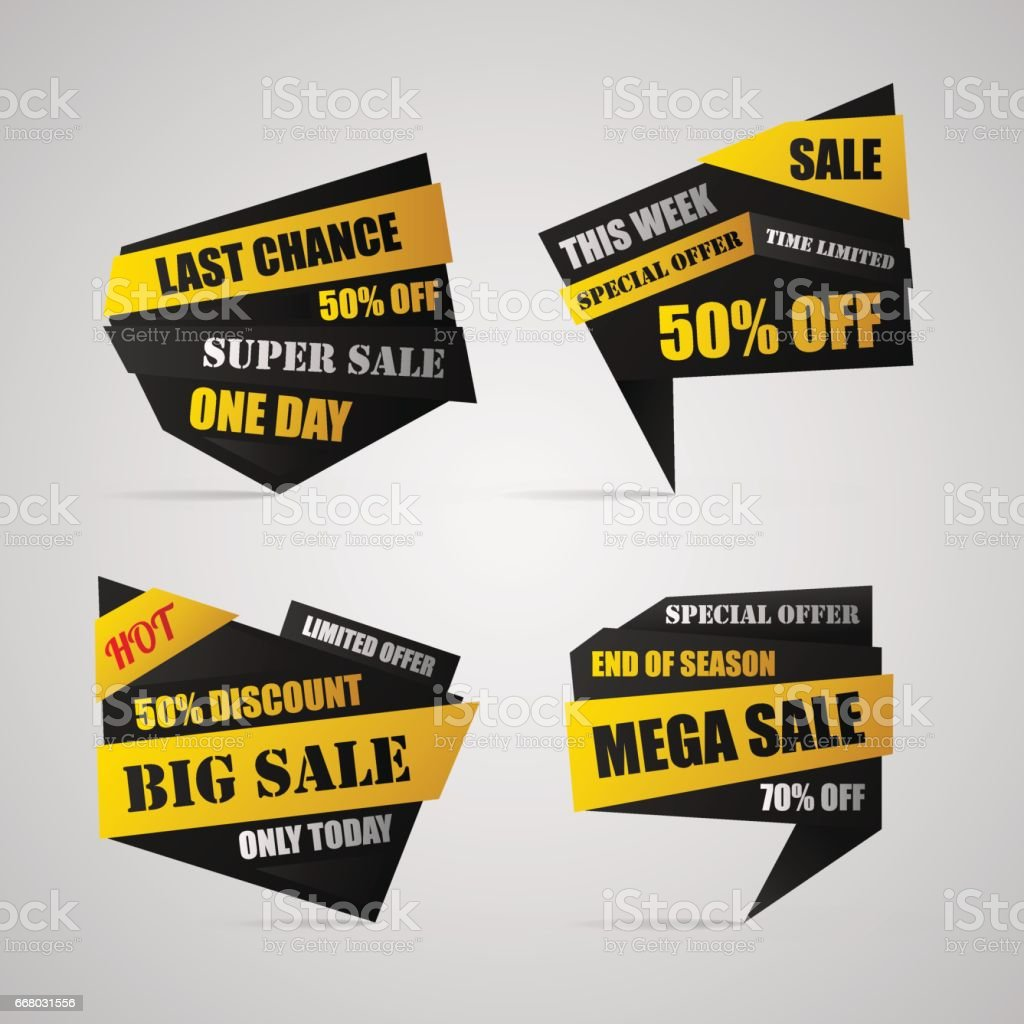 Four sale banners with 50%, 70% off vector art illustration