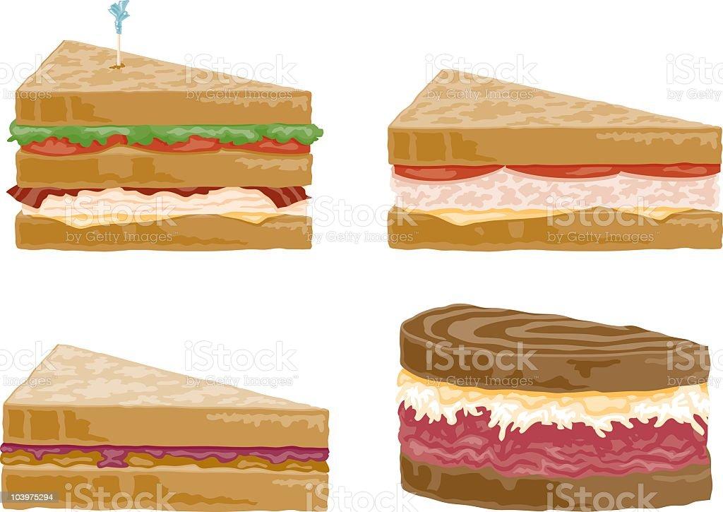 Four Sandwiches vector art illustration