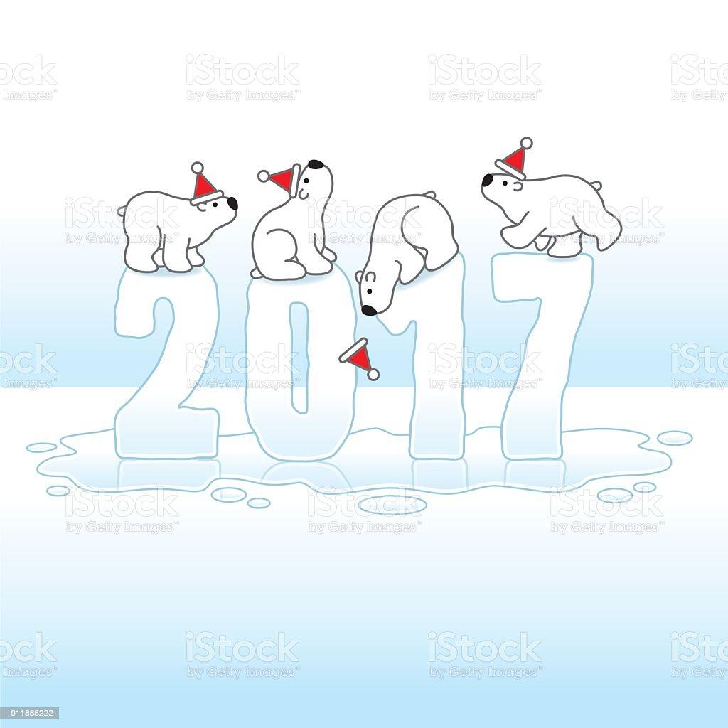 Four Santa Polar Bears Balancing on Melting Ice Year 2017 vector art illustration