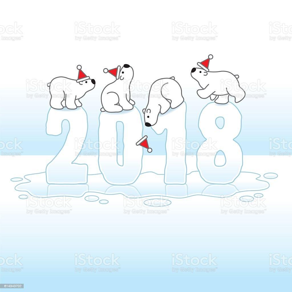 Four Santa Polar Bears Balancing on Melting Ice Year 2018 vector art illustration