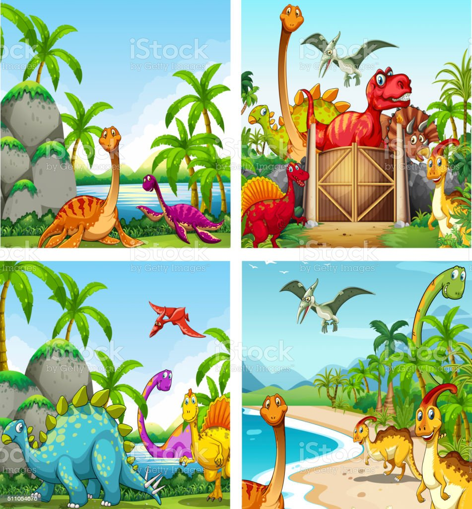 Four scenes of dinosaurs in the park vector art illustration