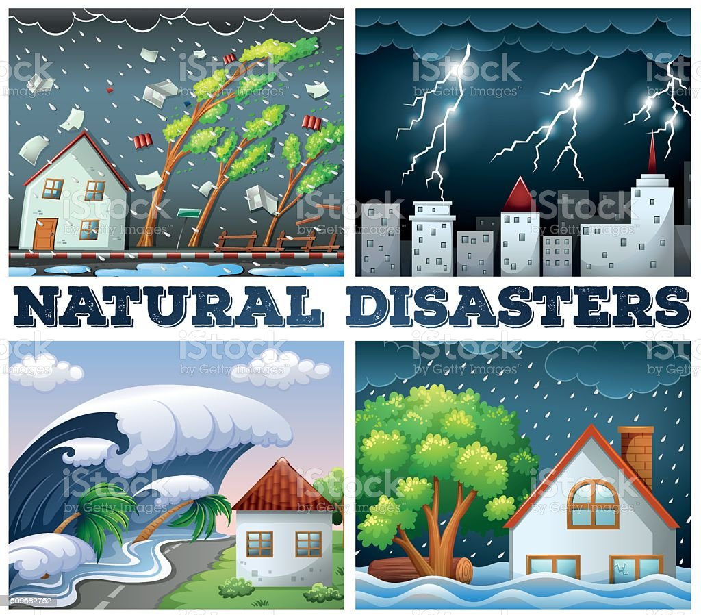 Four scenes of natural disasters vector art illustration