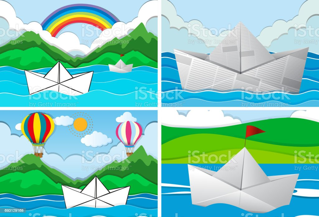 Four scenes with paper boats at sea vector art illustration