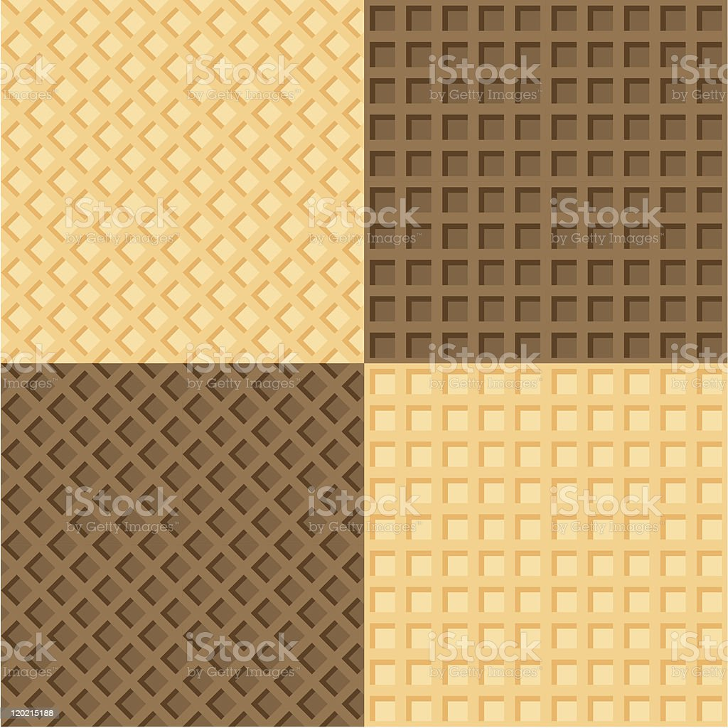 Four seamless background wafers vector art illustration