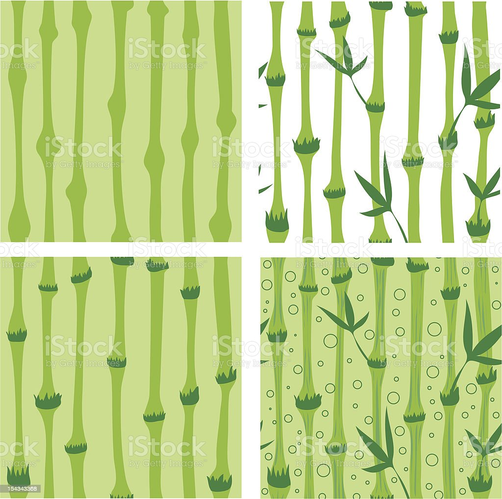 Four SEAMLESS bamboo patterns royalty-free stock vector art