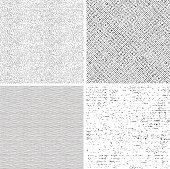 four seamless black and white fabric patterns