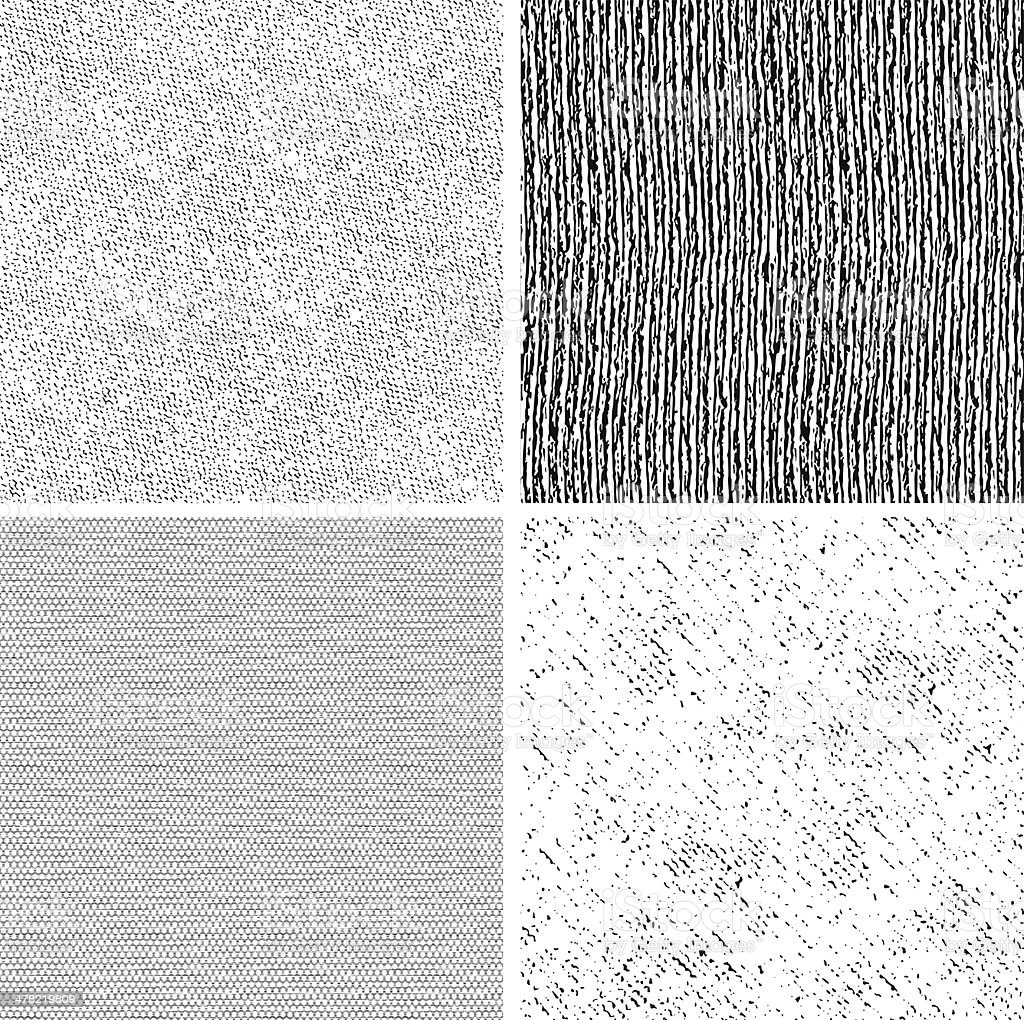 four seamless black and white fabric patterns vector art illustration