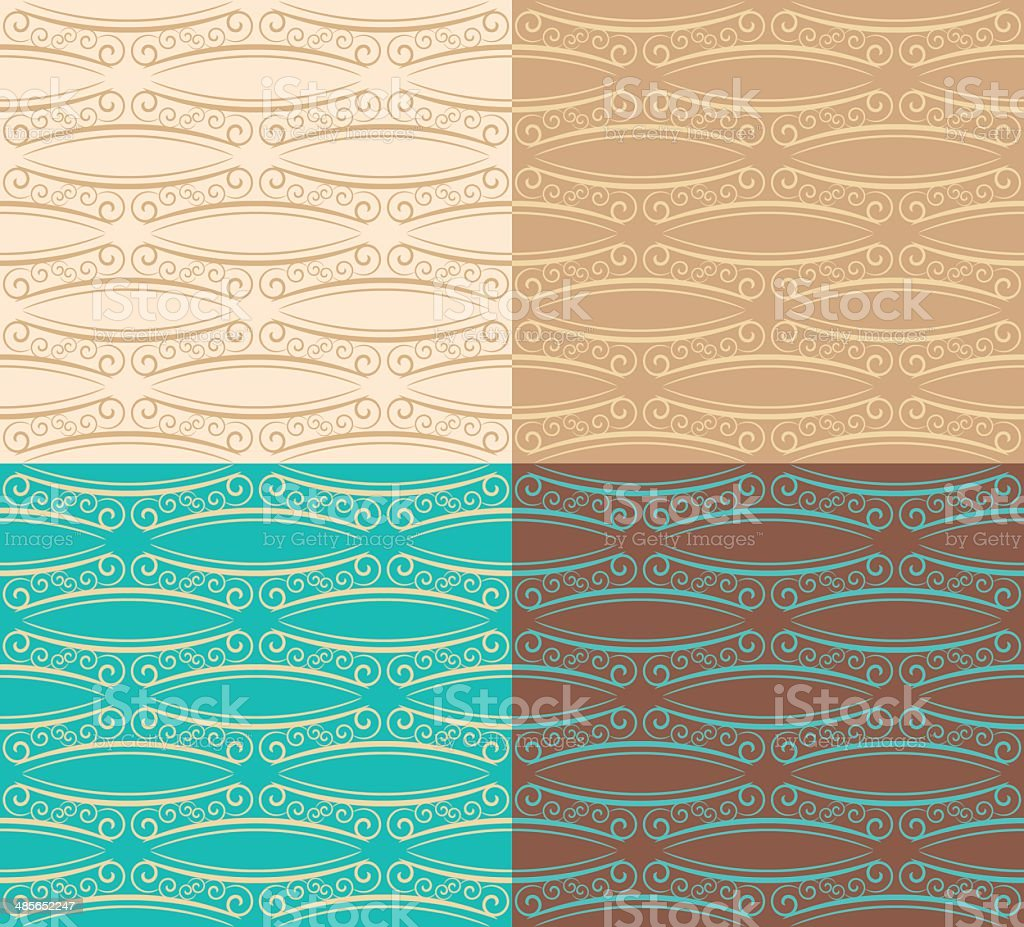 Four seamless decorative patterns vector art illustration