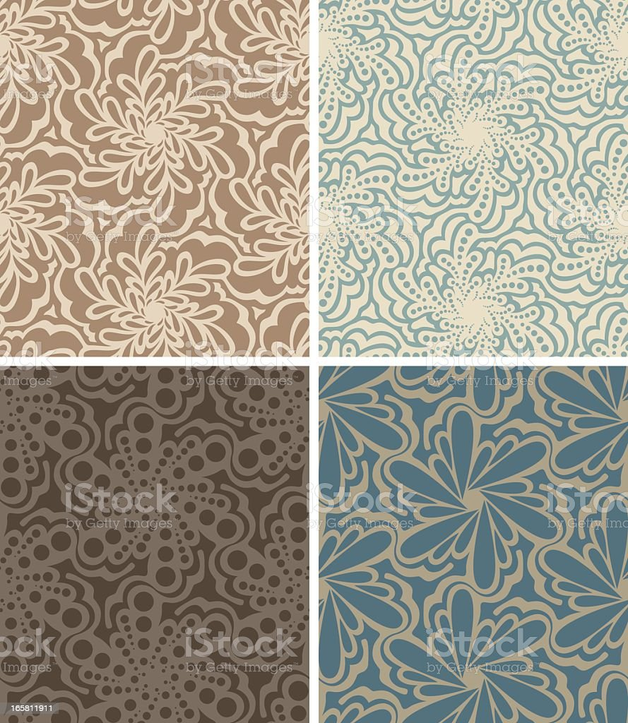 Four seamless floral patterns in different colors royalty-free stock vector art