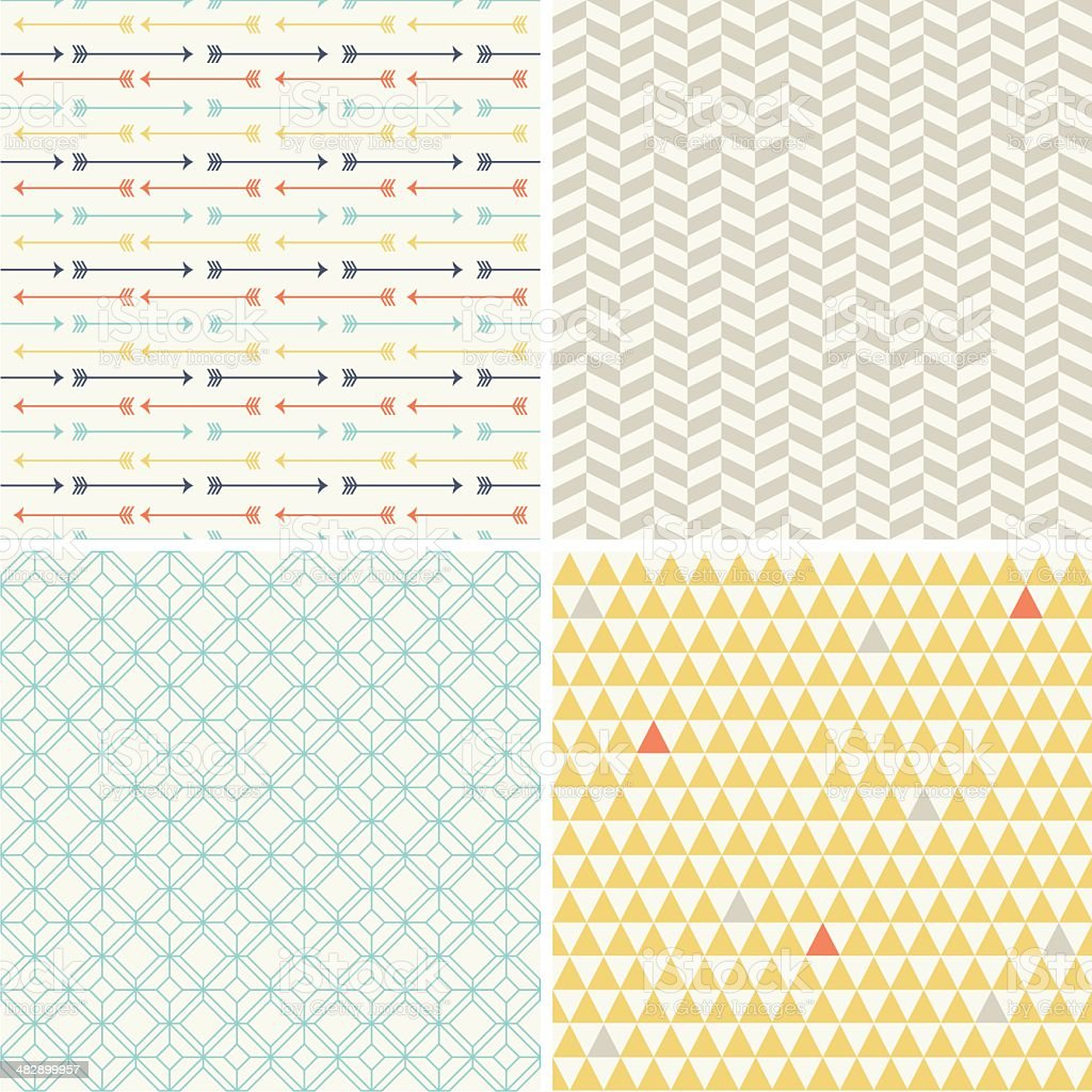 Four Seamless Geometric Patterns vector art illustration