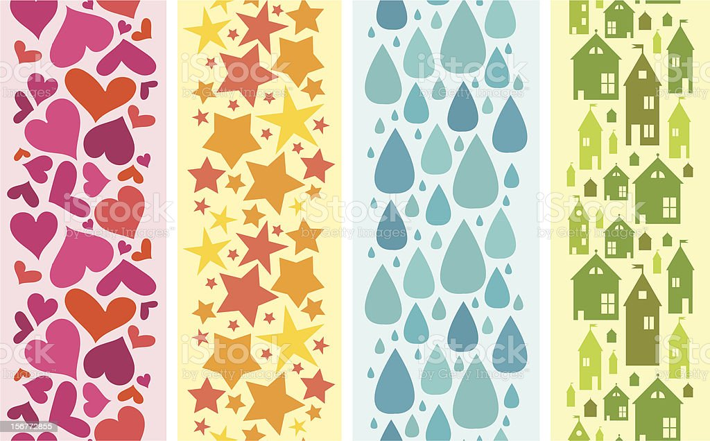Four Seamless Vertical Patterns Ornaments With Silhouettes royalty-free stock vector art