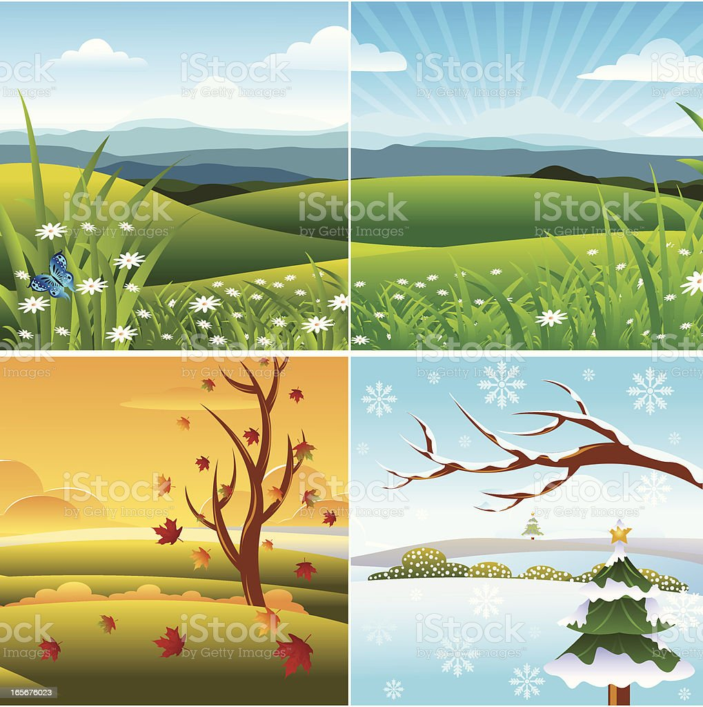 Four Season Landscape royalty-free stock vector art