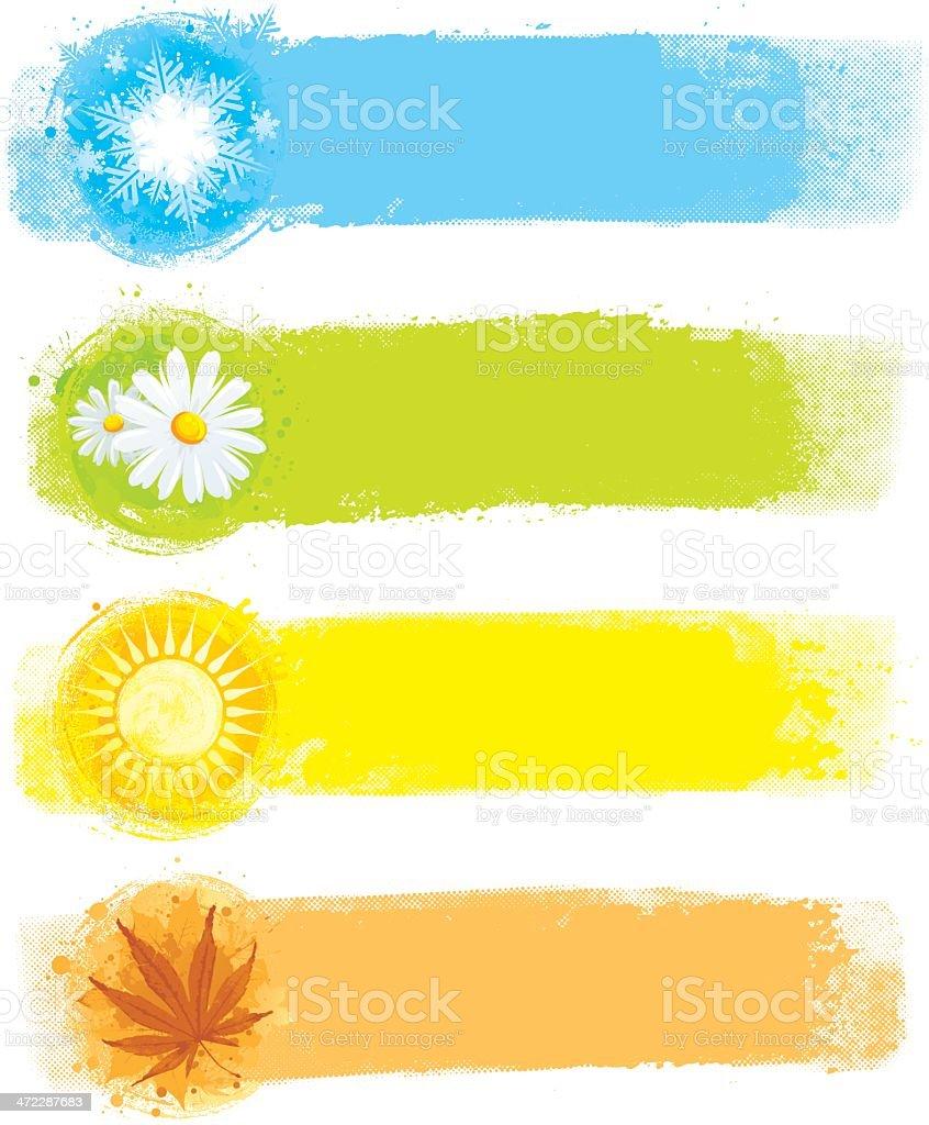 Four seasonal paint strips vector art illustration