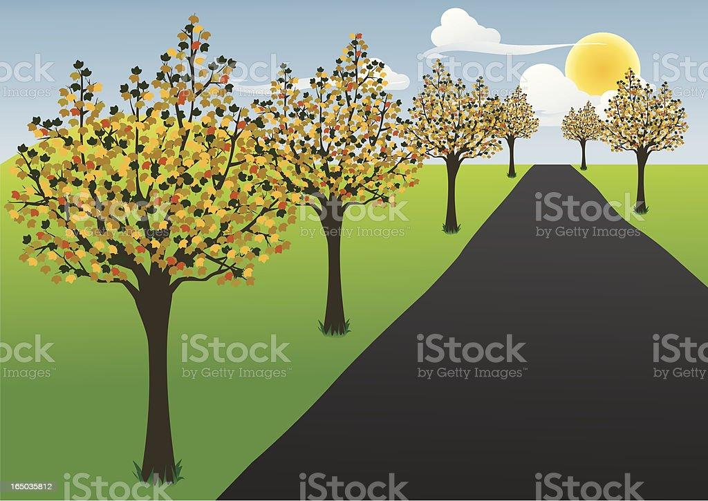 Four Seasons, Autumn Road - incl. jpeg royalty-free stock vector art