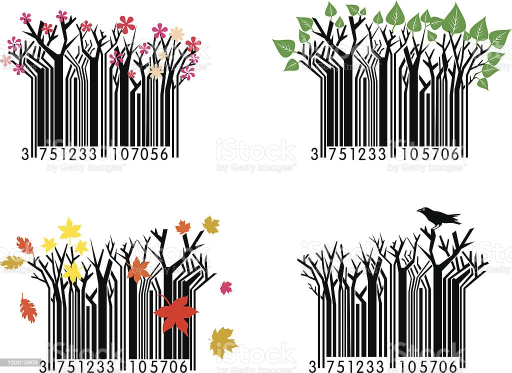 Four Seasons Barcodes royalty-free stock vector art