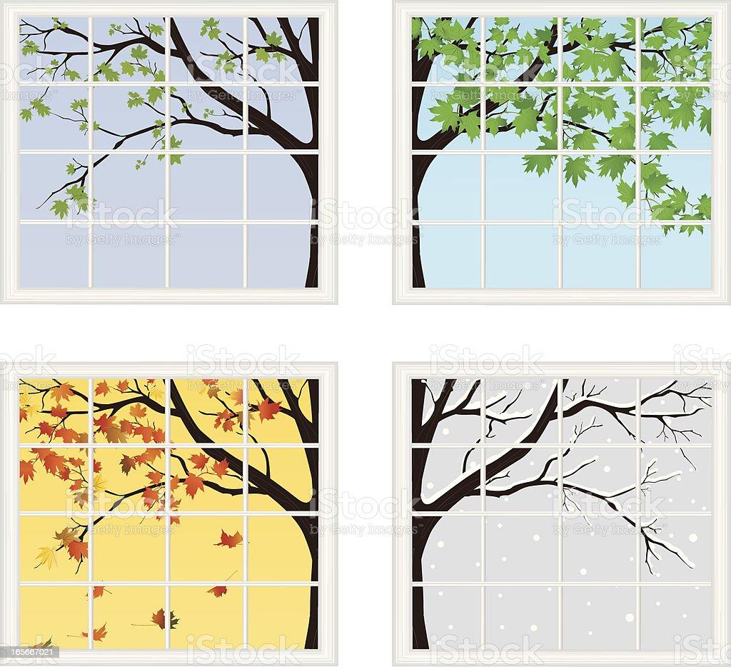 Four Seasons Behind Window royalty-free stock vector art