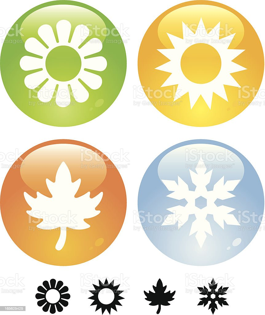 Four Seasons Buttons vector art illustration