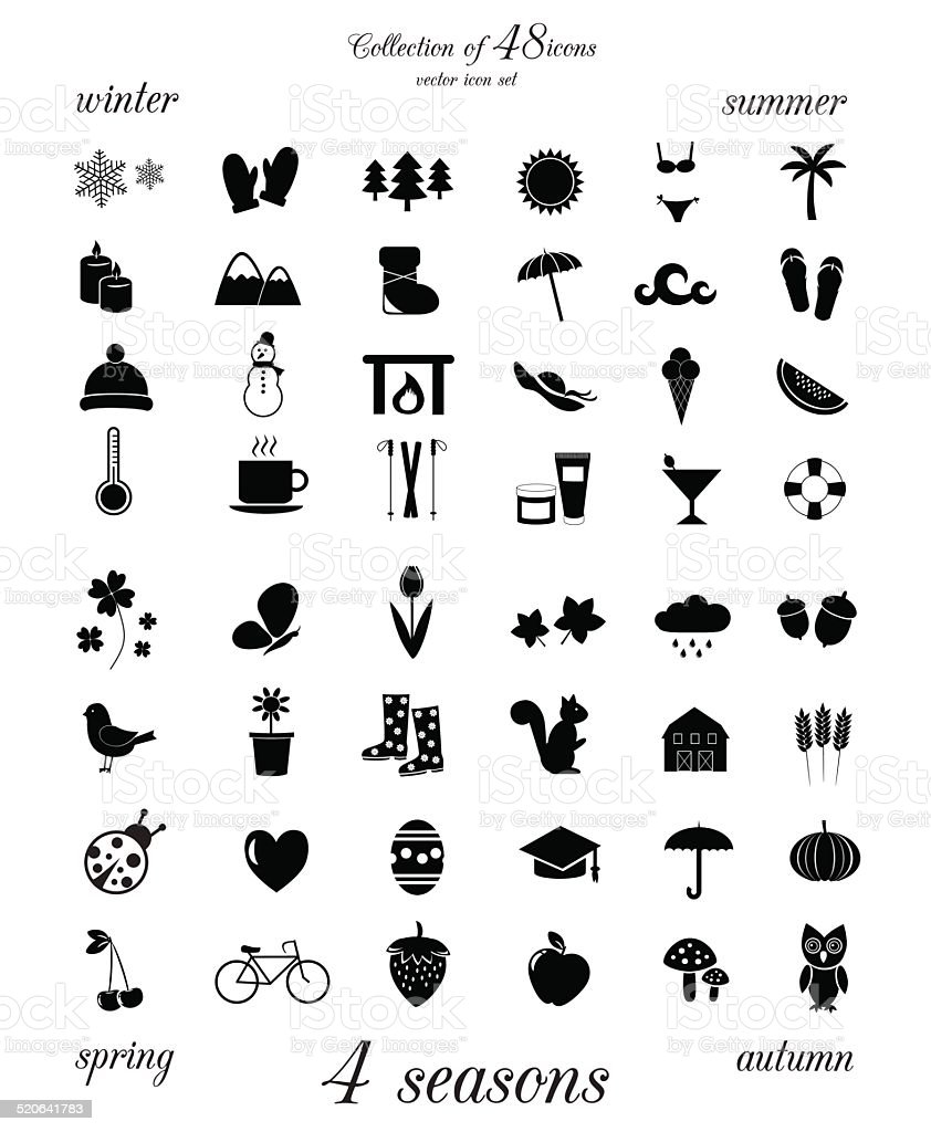 Four seasons. Collection of 48 icons. vector art illustration