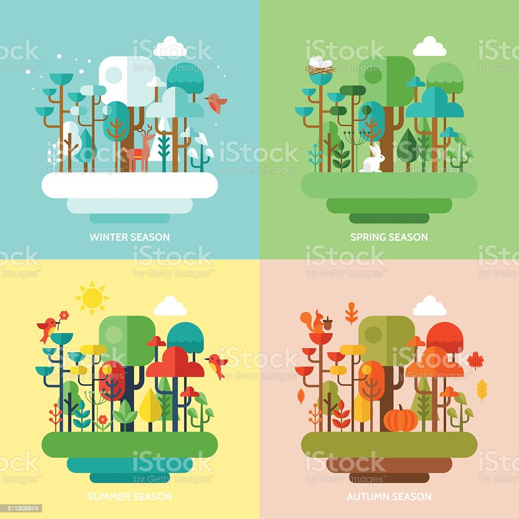 Four seasons concept with nature forest, trees and animals vector art illustration