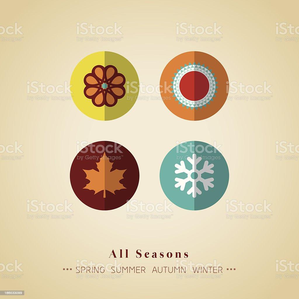 four seasons icon symbol vector illustration vector art illustration