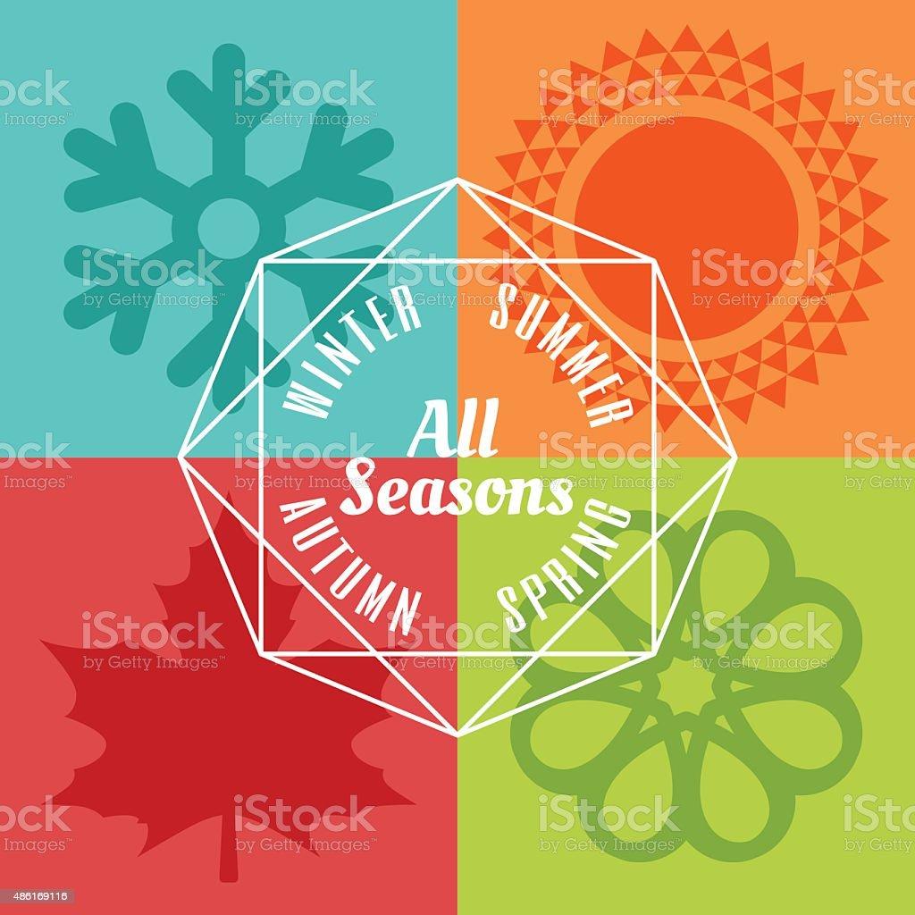 four seasons icon symbol vector vector art illustration