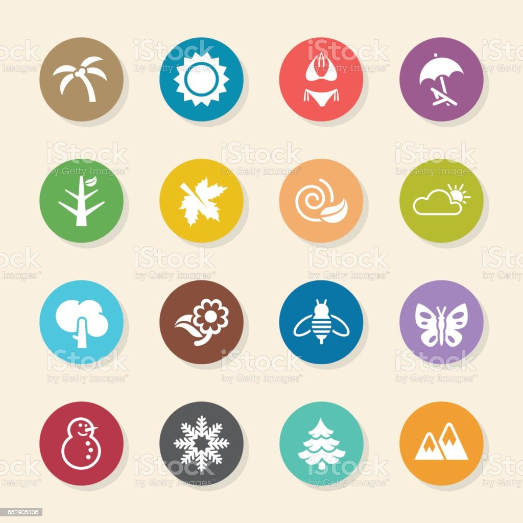 Four Seasons Icons Set 1 - Color Circle Series vector art illustration