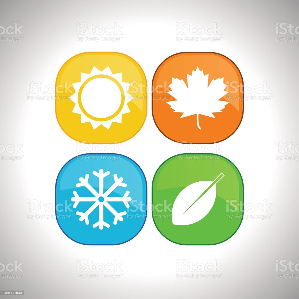 Four seasons icons vector art illustration