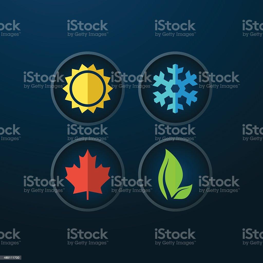 Four seasons icons vector art illustration