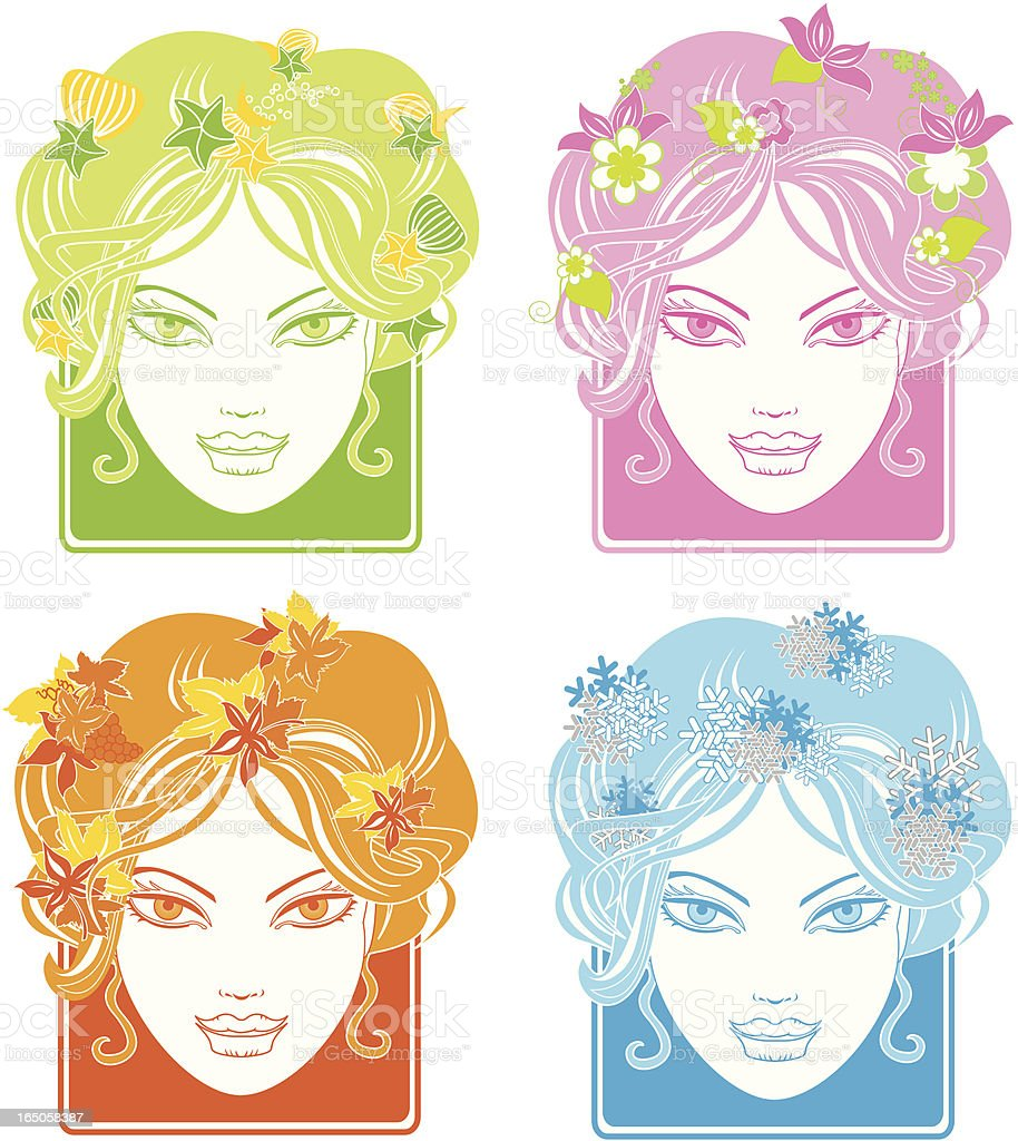 Four Seasons Lady royalty-free stock vector art