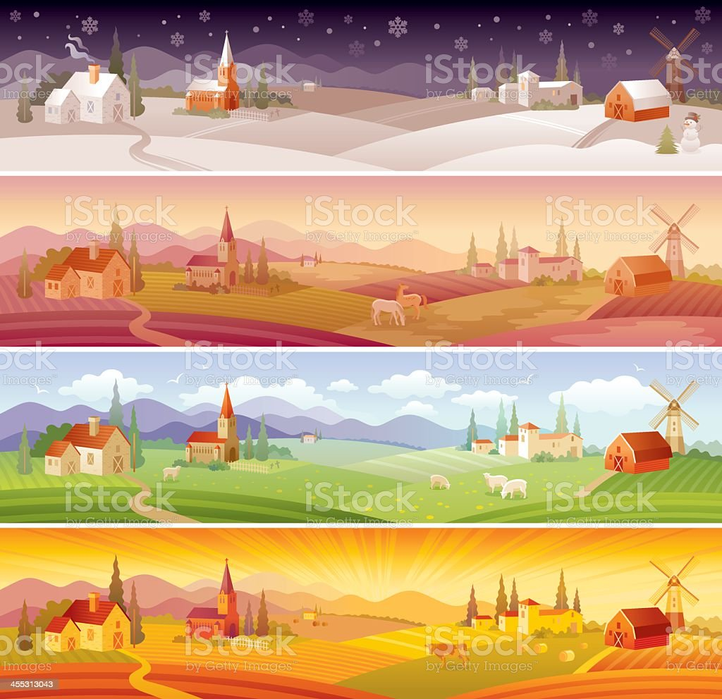 Four seasons landscapes: winter, spring, summer and autumn vector art illustration