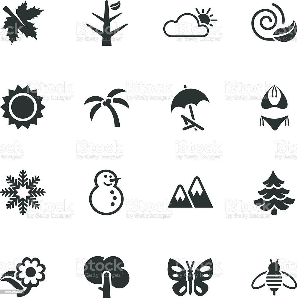 Four Seasons Silhouette Icons vector art illustration