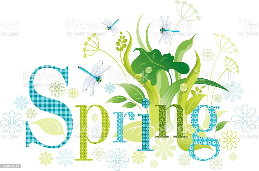 Four seasons: Spring banner vector art illustration