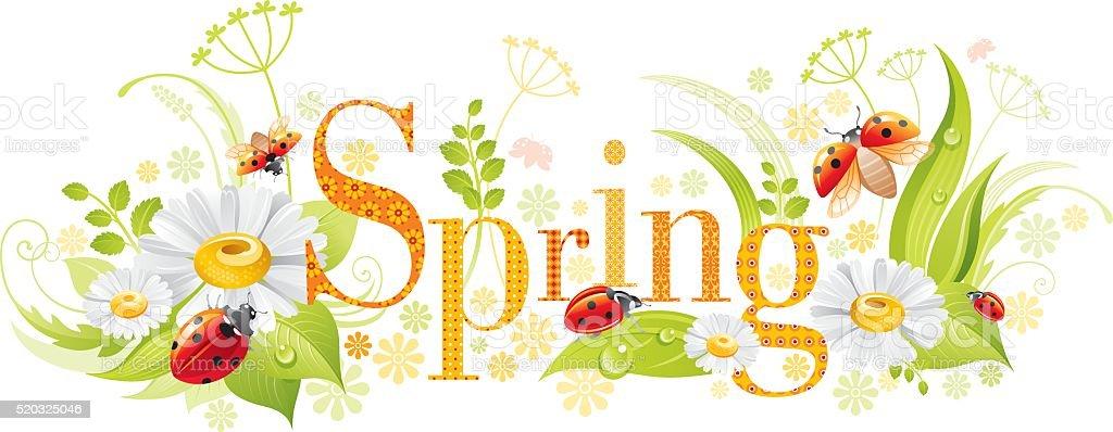 Four seasons: Spring banner vector art illustration