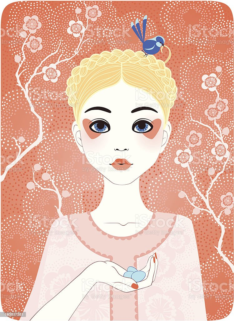 Four Seasons - Spring girl royalty-free stock vector art