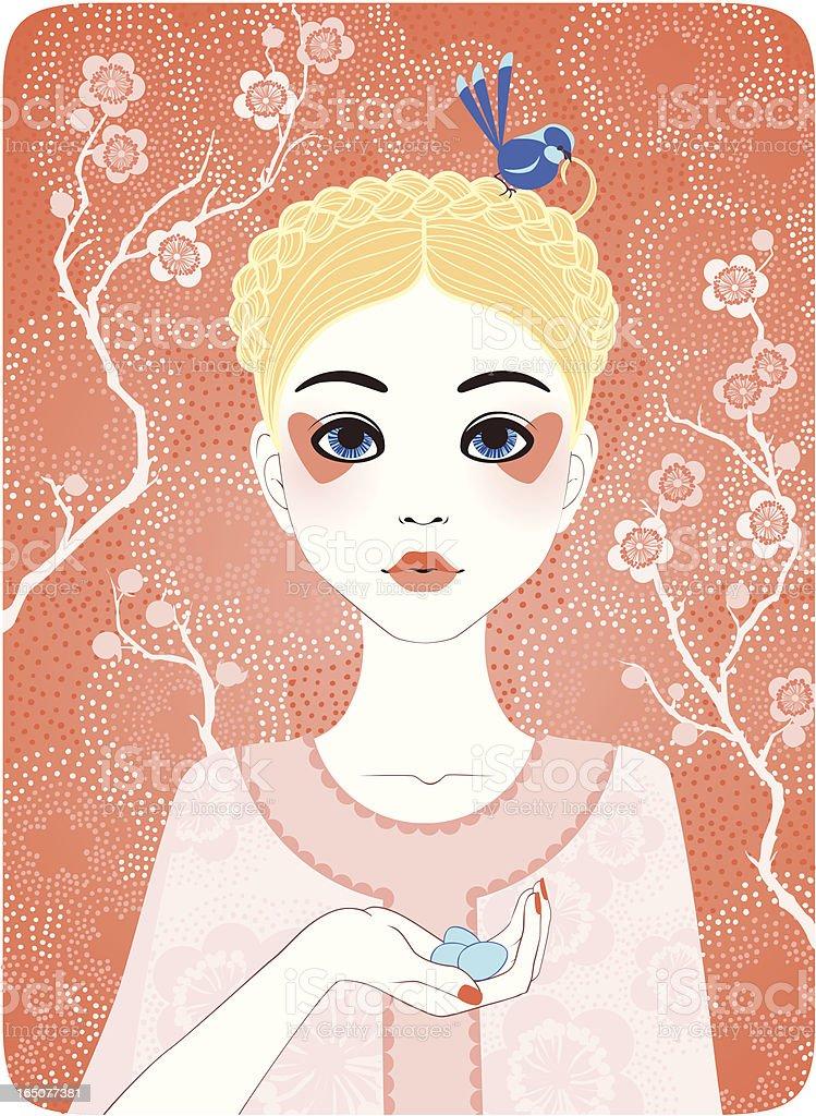 Four Seasons - Spring girl vector art illustration