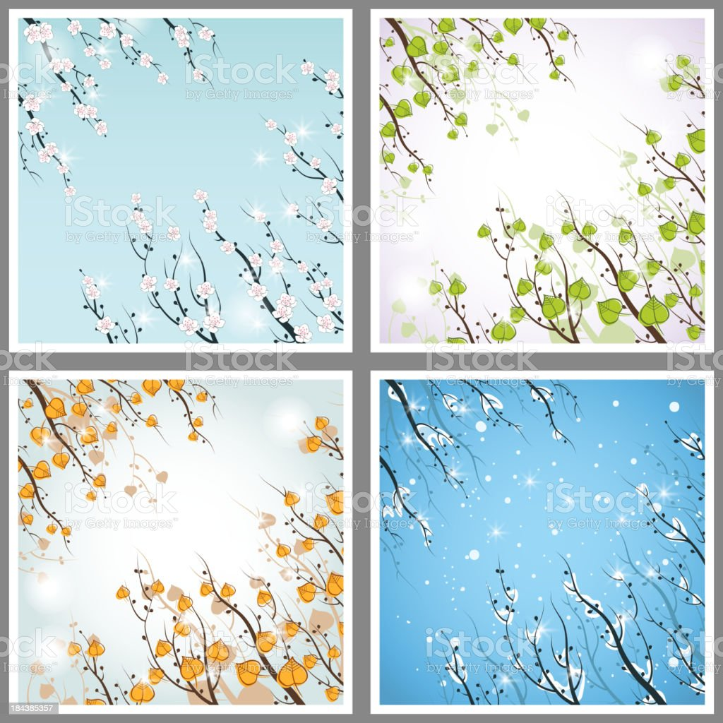 Four Seasons: spring, summer, autumn and winter. royalty-free stock vector art
