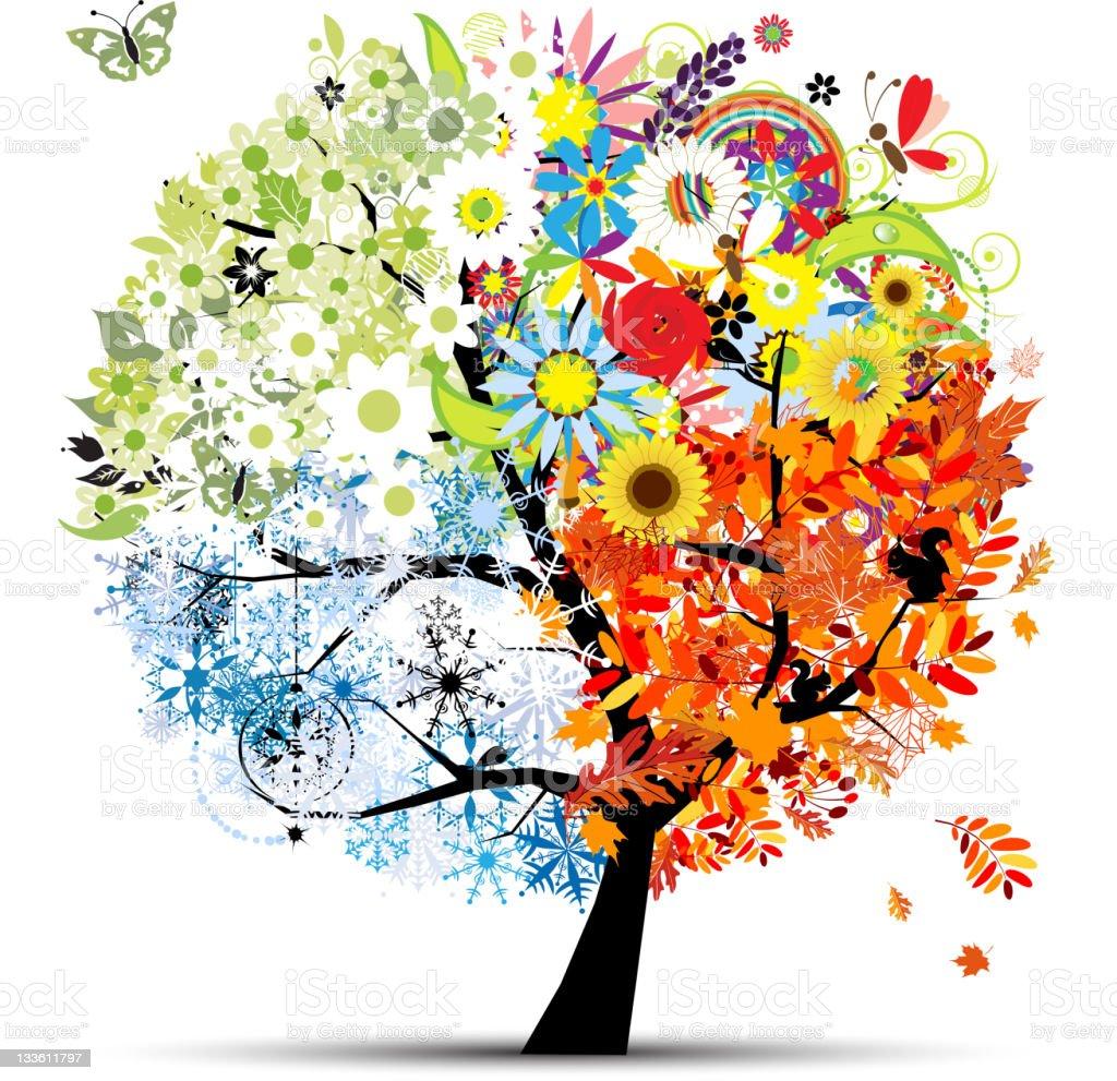 Four seasons - spring, summer, autumn, winter. Art tree beautiful vector art illustration